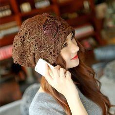 Lady Women Lace Autumn Warm Hat Casual Beanie Hat Cotton Flower Soft Chemo Cap #Unbranded #Korean