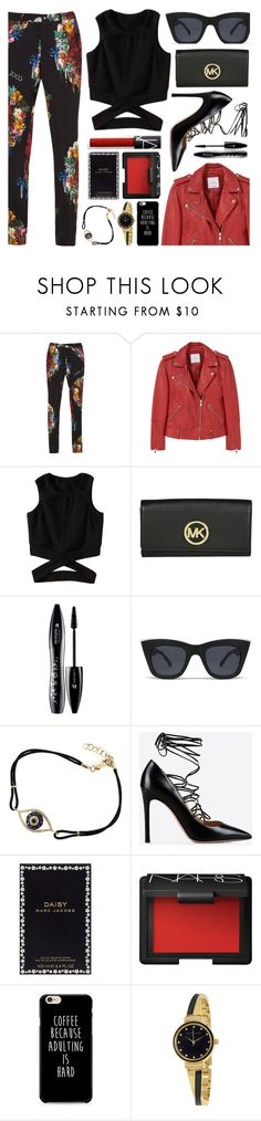 """""""Black & Red"""" by monmondefou ❤ liked on Polyvore featuring MANGO, Lancôme, Quay, Valentino, Marc Jacobs, NARS Cosmetics, Anne Klein, black and red"""