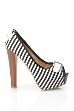 Stripe Peep Toe