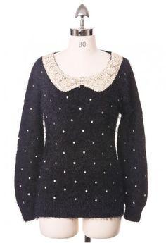 fluffy navy dots sweater.