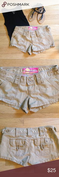 """Abercrombie Tan Shorts - size 0 Abercrombie Tan Shorts - size 0. Abercrombie logo is crossed out on inside. 2"""" inseam. 100% cotton. Gently used but in good condition! Abercrombie & Fitch Shorts"""