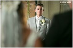 Clyde Iron Works, Duluth wedding, groom, wedding ceremony, wedding moments, gray suit, boutonniere