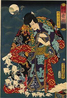 Kabuki wood block print