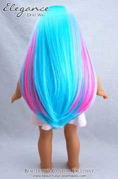 """Elegance American Girl Doll Wig in Cotton Candy Light Turquoise Blue with Pink Highlights fits 18"""" American Girl Dolls size 10-11"""" wig cap: Beautifully Custom Dolls Exclusive"""