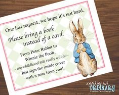 Peter Rabbit Book Request Cards for Girl's Baby Shower