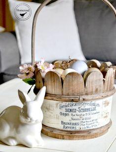 Wooden Easter Basket and a Transfer Method. Homeroad.net #Easter #Easterbasket #Easterdecor #crafts #diyproject #handmadeEaster