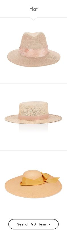 """Hat"" by alina-chipchikova ❤ liked on Polyvore featuring accessories, hats, brim fedora hat, eugenia kim, brim fedora, hemp hats, light pink hat, nude, braid crown and janessa leone hats"