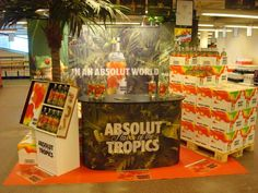 Absolute In Store DIsplay Pos Display, Display Design, Absolut Vodka, Tropical Forest, Experiential, Packaging Design, Beverages, Advertising, Retail Displays