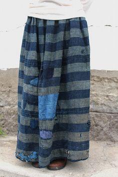 農婦シリーズ インディゴボーダーのボロボロ ロングスカート [PANTS-267]