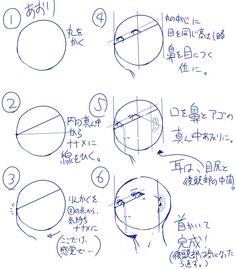 「【講座】丸○と6ステップだけで描く 割と簡単 顔講座」/「おのでらさん」の漫画 [pixiv]