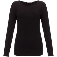 Jigsaw Long Sleeve Round Neck T-Shirt ($17) ❤ liked on Polyvore featuring tops, t-shirts, shirts, long sleeves, sweaters, black, black long sleeve shirt, black long sleeve t shirt, black t shirt and t shirts