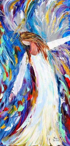 impressionist angel paintings | oil ANGEL PALETTE KNiFE painting modern impressionism impasto fine art ...