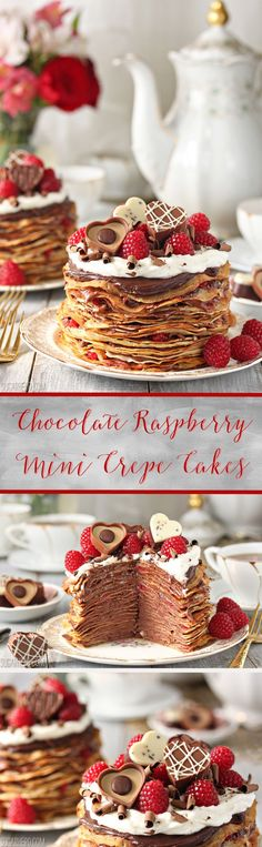 Chocolate Rasperry Mini Crepe Cakes - mini cakes with twenty-five layers of crepes and a chocolate-raspberry whipped ganache. Great recipe for Valentine's day! Mini Desserts, Dessert Tarts Mini, Unique Desserts, Party Desserts, Just Desserts, Sweet Recipes, Cake Recipes, Dessert Recipes, Dinner Recipes