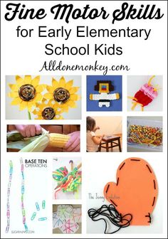 A collection of activities to develop fine motor skills for early elementary school students.