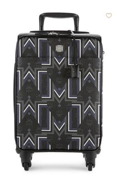 "MCM Geometric-Print Trolley from Saks  On-trend trolley with an allover geometric design. Expandable top, side handles Zip closure Four-wheel system One interior zip pocket One interior zip compartment 13.5""W x 21.5""H x 7.5""D  A.L. Included."