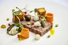 Smoked eden valley ham hock pressing with piccalilli style accompaniment and toasted brioche. Piccalilli, Robert Parker, Ham Hock, Toronto Ontario Canada, Sample Menu, Wine List, Creme Brulee, Fine Dining, Food Art
