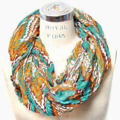 Amazon.com: Scarfand's Zig Zag Ripple Infinity Scarf (Turquoise): Clothing
