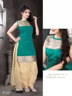 Awesome Green Cotton Satin Salwar Kameez2129