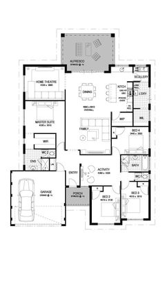 The Castle will Guarantee to Create a Lasting Impression. Affordable & Functional 4 Bed, 2 Bath, Wide, Luxury Home Design. Simple Floor Plans, Open Floor House Plans, Porch House Plans, Modern Floor Plans, 4 Bedroom House Plans, Farmhouse Floor Plans, Home Design Floor Plans, House Plans One Story, Dream House Plans