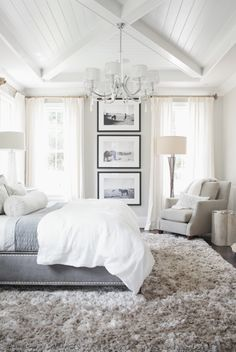 Grey & white bedroom - use black & white prints as focal point on walls
