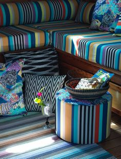 """Colorful stripes and new designs for the """"TROPICAL FISH"""" outdoor collection.... MissoniHome 2016. #outdoor #tropicalfish #missonihome"""