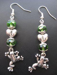 Frog Jewelry Earrings  Frog Earrings with Heart by jewelryrow, $12.50 https://www.etsy.com/listing/94895397/frog-jewelry-earrings-frog-earrings-with