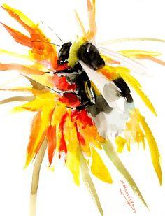 Bumblebee, Original watercolor painting by ORIGINALONLY on Etsy Arches Watercolor Paper, Watercolor Paintings, Pink Cockatoo, Original Artwork, Original Paintings, Whale Painting, Whale Art, Eco Friendly Paper