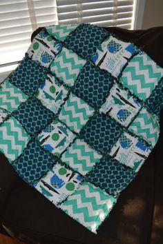 baby boy Blue and green jungle fun rag by MadeWithLoveBedding, $30.00