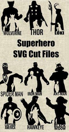 Superhero Silhouette SVG Cutting Files, Printable, T-shirt Design, Scrapbooking Clipart #superhero #hawkeye #blackwidow #captainamerica #ad #ironman #ant-man #spiderman #thor #loki #groot #avengers #wolverine #xmen #marvel #dc
