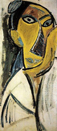 Pablo Picasso - Study for Les Demoiselles d'Avignon Gᴀʙʏ﹣Fᴇ́ᴇʀɪᴇ Pablo Picasso, Art Picasso, Picasso Portraits, Picasso Paintings, Georges Braque, Abstract Portrait, Portrait Art, Abstract Oil, Abstract Paintings