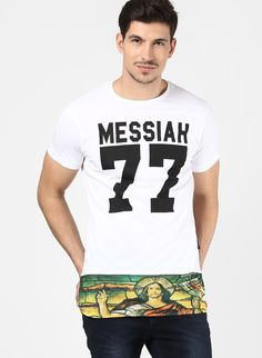 """Perfect EDM wear long Line tee with Messiah hem printed by tiktauli de corps"""
