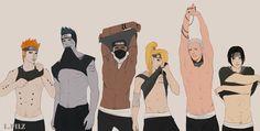 Pein, Kisame, Kakuzu, Deidara, Hidan, Itachi