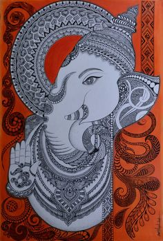 ganesha by anjali singh Painting Doodle Art Drawing, Mandala Drawing, Mandala Painting, Worli Painting, Buddha Painting, Zentangle Drawings, Butterfly Painting, Art Drawings, Lord Ganesha Paintings