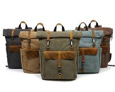07f11736a21 Hand waxed canvas leather roll top bag - 3 ways rucksack, duffle bag,  briefcase - Expandible waterproof haversack. LæderRygsækkeSkuldertasker