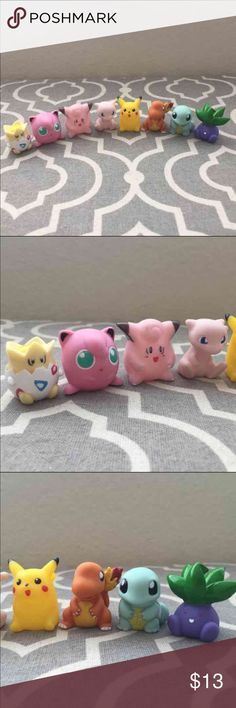 """8 pcs Pokemon Go Figures set cake topper This listing is for 8 pcs Pokemon Go Figures Set. ( Great Quality )   Makes a great gift!! Great for displaying, cake toppers, party favor, cupcake toppers, Pokemon figures collections or just simply great for all the Pokemon Fans!  Dimensions :   -Figures : 1.25"""" tall   You will get :  - Pikachu - Squirtle - Charmander - Jigglypuff - Mew - Togepi - Oddish - Clefairy  Fast Shipping! Pokemon Other"""