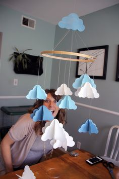 Make these clouds out of poster board to create large clouds.