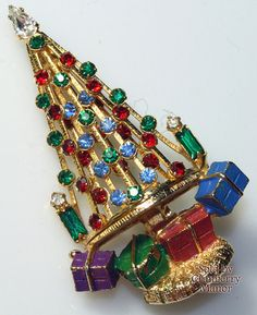 Warner Christmas Tree Brooch & Presents, Ruby Red Emerald Green Rhinestone Enameled Figural Gold Pin, Vintage 1950s Fashion Designer Jewelry
