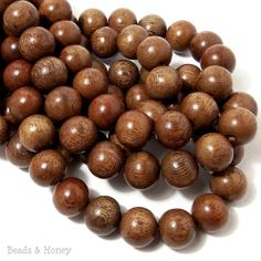Narra Wood, Natural Wood Beads, Round, Smooth, 14mm-15mm, Large, Full 16 Inch Strand, 28pcs - ID 1657