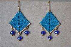 Vintage Inspired Crocheted Dangle Earrings by ginaska