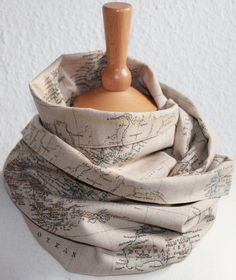 Unisex Loop/ Scarf/ map of the world/ beige/ by SongbirdFashion