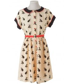 Silk dress with cats pattern and Peter Pan collar