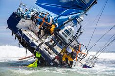 "Volvo Ocean Race, Team Vestas .... Note to self ""land is best to be avoided when sailing around the world very quickly"" ."