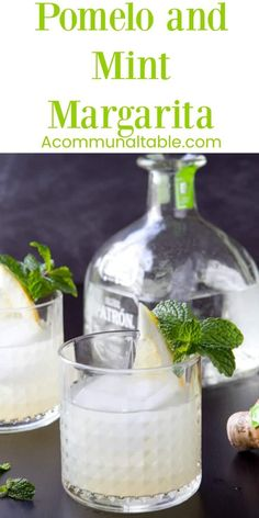 This Pomelo and Mint Margarita cocktail recipe, made with blanco tequila, is  bright, refreshing and an easy sipper when served on the rocks!  #margarita #cocktails #cocktailrecipe
