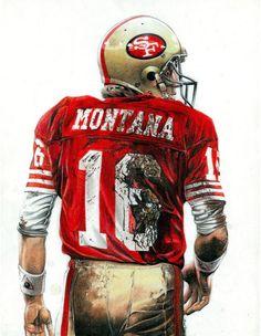 Joe Montana by Arnel Sports Decor, Sports Art, Joe Montana, Cool Artwork, Illustrators, Portraits, Football, Superhero, Fictional Characters