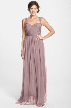 $154 on sale Nordstrom Monique Lhuillier Bridesmaids Shirred Chiffon Gown