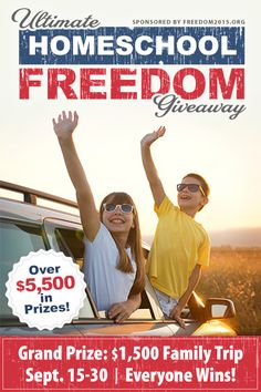 Enter the Ultimate Homeschool Freedom Giveaway to win a $1,500 all-expenses-paid family trip to the Freedom 2015 Conference (or) win one of ten $200 family registrations! http://freedom2015.org/giveaway/ ENTER DAILY!