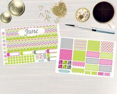 Monthly de junio Sticker Set - mensual ver pegatinas, planificadores de Erin Condren Vertical Horizontal y cada hora, feliz planificador, planificador pegatinas