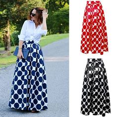 Buy FM Women Polka Dot Print Casual Party Vintage Rockabilly High Waist Skirt Long Maxi Dress at Wish - Shopping Made Fun Swing Rock, Cocktail Bridesmaid Dresses, Casual Party Dresses, Sophisticated Dress, Frack, Swing Skirt, Black Cocktail Dress, Flare Skirt, Skirt Fashion