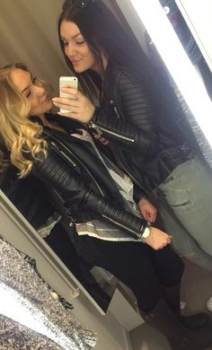 Girls in leather jacket, jeans and johnny bulls boots