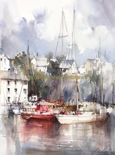 Watercolors, Oils and Acrylics by Brazilian artist Fabio Cembranelli featuring a gallery of original paintings, art tutorials, watercolor tips and his daily paintings. Watercolor Painting Techniques, Watercolor Artists, Watercolor Landscape, Watercolor And Ink, Watercolour Painting, Landscape Paintings, Watercolours, Pinturas Em Tom Pastel, Boat Drawing